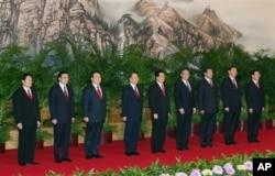 2007年中共17大后九常委亮相(2007年10月22日)
