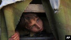 Một cậu bé tị nạn người Afghanistan trong 1 túp lều ở ngoại ô Karachi, Pakistan, 13/3/2012