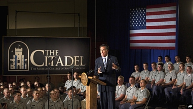 Republican presidential candidate and former Massachusetts Gov. Mitt Romney speaks to Citadel cadets and supporters during a campaign speech inside Mark Clark Hall on the Citadel campus in Charleston, South Carolina, Octorber 7, 2011.