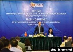 Thứ trưởng Ngoại giao Việt Nam Nguyễn Quốc Dũng thông cáo về các cuộc họp của khối ASEAN, ngày 7/9/2020.