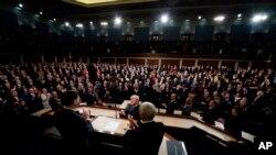 川普2018年1月30日在国会发表国情咨文(美联社)