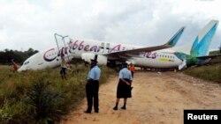Un avión de la línea aérea Caribbean Airlines accidentado en Georgetown, en julio de 2011. La embajada de EE.UU. en Guyana ha alertado sobre los vuelos de esta compañía.