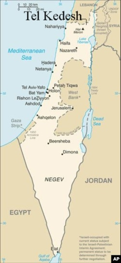 A map showing the approximate location of Tel Kedesh, where the Ptolemaic coin was found