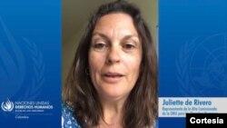 """""""Es aberrante que los defensores de derechos humanos en Colombia tengan que asumir tantos riesgos para avanzar en sus causas"""": Juliette de Rivero, representante en Colombia de la Alta Comisionada de ONU para los Derechos Humanos. [Foto: Cortesía]"""