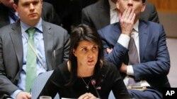 니키 헤일리 유엔주재 미국대사가 18일 안보리에서 열린 '대량살상무기 비확산 회의'에서 북한의 위협에 대해 경고했다.