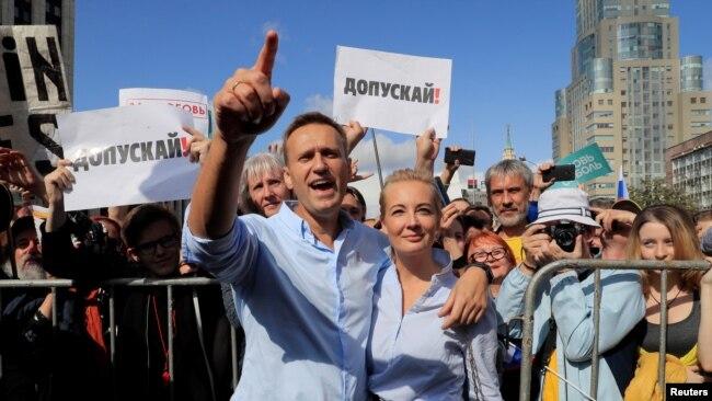 Алексей Навальный на акции протеста в Москве