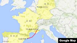 地图显示位置: 班机终点站德国的杜塞尔多夫、启航地点西班牙的巴塞罗那和坠机地点法国的巴斯洛内特