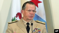 Chairman of the U.S.Joint Chiefs of Staff Admiral Mike Mullen speaking in Chicago, 25 Aug 2010