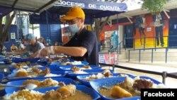 Almuerzos para refugiados venezolanos preparados en el albergue Casa de Paso Divina Providencia, de la diócesis de Cúcuta, en La Parada. Sep. 13 de 2019. Foto: Facebook Casa de Paso Divina Providencia.