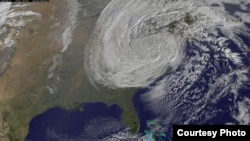 Hurricane Sandy, a late-season post-tropical cyclone, swept through the Caribbean and up the East Coast of the United States in late October 2012. The storm left dozens dead, thousands homeless and millions without power. Total damage is expected to be in the billions of dollars. (NOAA/NASA GOES Project)