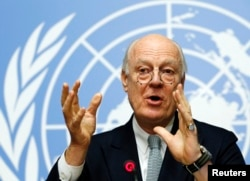 FILE - U.N. mediator for Syria Staffan de Mistura gestures during a news conference at the United Nations in Geneva, Switzerland, Jan. 25, 2016.