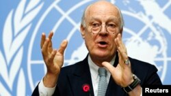 U.N. mediator for Syria Staffan de Mistura gestures during a news conference at the United Nations in Geneva, Switzerland, Jan. 25, 2016.