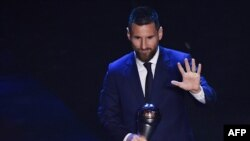 Lionel Messi lors des Fifa Football Awards, Italie, le 23 septembre 2019