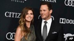 کریس پرت و همسر جدیدش،کاترین شوارتزنگر در مراسم اکران نخست فیلم «انتقامجویان: پایان بازی» در لس آنجلس