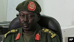 South Sudan's military issues a directive that journalists must have security-related stories checked by the office of SPLA spokesman Philip Aguer, shown here at a briefing in March, 2012.