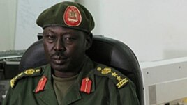 SPLA spokesman, Col. Philip Aguer, shown here at a briefing in March 2012, says South Sudanese soldiers have killed more than two dozen members of David Yau Yau's rebel group. (AP)