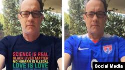 در ژوئیه یک عکس دستکاری شده تام هنکس در صفحه «نه تبعیض نژادی نه جنگ» به اشتراک گذاشته شده بود، که ۹۵ هزار بار بازنشر شد.