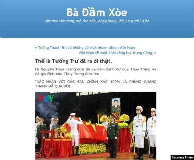 Facebook Nguyễn Thuỳ Trang lấy danh dự của cá nhân và cả gia đình ra để đảm bảo rằng Phùng Quang Thanh đã qua đời (!).
