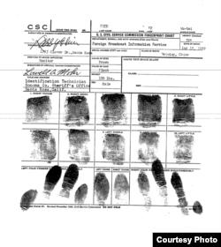 美国中央情报局提供的金无怠指纹记录。(美国中央情报局)