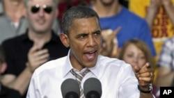 美國總統奧巴馬星期六在愛荷華州發表競選演講
