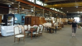 The Second Chance Warehouse in Baltimore, Maryland, contains everything from doors and floors to furnishings and other household items reclaimed from homes slated to be restored, renovated or demolished. (J. Taboh/VOA)
