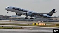 新加坡樟宜机场启程飞往纽约的空中客车A350班机