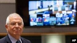 Kepala Kebijakan Luar Negeri Uni Eropa Josep Borrell hadir untuk mengikuti pertemuan virtual para menteri luar negeri Uni Eropa dan Menlu AS Mike Pompeo di gedung Dewan Eropa, Senin, 15 Juni 2020.