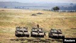 部署在戈兰高地的以色列坦克