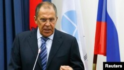 FILE- Russia's Foreign Minister Sergei Lavrov attends a meeting with students at Moscow State Institute of International Relations in Moscow, Sept. 1, 2014.