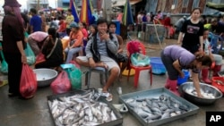 Ethnic Vietnamese sell fish on the sidewalk of Prek Pnoa's morning fish market on the outskirt of Phnom Penh, file photo.