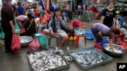 Ethnic Vietnamese sell fish on the sidewalk of Prek Pnoa's morning fish market on the outskirt of Phnom Penh, file photo.
