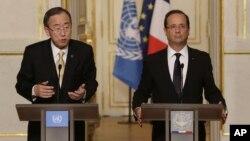 Tổng Thư ký LHQ Ban Ki-moon và Tổng thống Pháp Francois Hollande trong cuộc họp báo chung tại điện Elysee ở Paris, ngày 9/10/2012