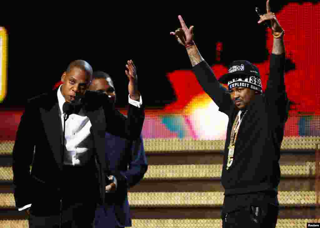 "Jay-Z (L), Frank Ocean (C), and The-Dream accept the Grammy for best rap/sung collaboration for ""No Church in the Wild"" at the 55th annual Grammy Awards in Los Angeles, California, Feb. 10, 2013."