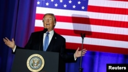 Presiden AS, Donald Trump, berpidato terkait usulan aturan perubahan peraturan perpajakan AS di Indianapolis, Indiana, AS, 27 September 2017 (foto: REUTERS/Jonathan Ernst)