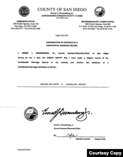 San Diego Letter Confirming Existence of Marriage.