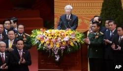 Tổng Bí thư Nguyễn Phú Trọng phát biểu tại lễ bế mạc Đại hội 12 tại Hà Nội, ngày 28/1/2016.