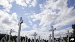 Crosses at the 1991 war victims cemetery in Vukovar, Croatia, July 21, 2011