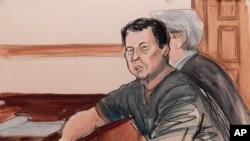 Dalam sketsa ruang sidang ini, terdakwa Ng Lap Seng duduk di pengadilan di meja terdakwa bersama pengacaranya atas tuduhan penyuapan mantan ketua Sidang Umum PBB. New York, Selasa, 6 Oktober 2015 (sketsa: Elizabeth Willliams via AP)