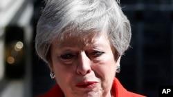 英国首相特蕾莎·梅2019年5月24日在唐宁街10号宣布即将辞职。
