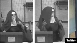 عکس دو زن در لباس راهبه ها، در حالیکه سعی داشتند بانکی در پنسیلوانیا را بزنند. عکس از دوربین بانک - گرفته شده از توئیتر AP