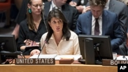 U.S. Ambassador to the United Nations Nikki Haley speaks during a Security Council meeting on the situation in Gaza, May 15, 2018, at United Nations headquarters in New York.