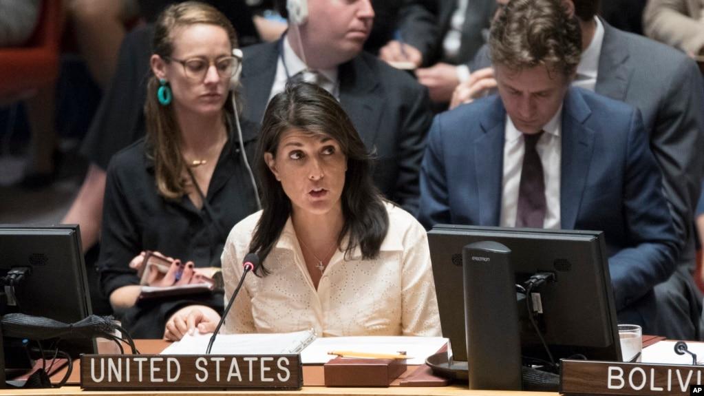 美國常駐聯合國代表黑利大使在安理會發言。 (2018年5月15日)