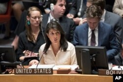 FILE - U.S. Ambassador to the United Nations Nikki Haley speaks during a Security Council meeting, May 15, 2018, at U.N. headquarters in New York.