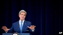 El secretario de Estado, John Kerry durante la presentación en julio de 2015, del Informe Anual de Tráfico de Personas. Cuba y Malasia fueron retiradas en ese informe de la lista de países que no hacen suficiente para combatir ese delito.