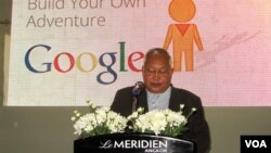 Mr. Bun Narith, General Director of APSARA Authority welcomes Google's street view technology for Angkor at the launch ceremony at the Le Meridien Angkor hotel in Siem Reap, Cambodia, April 3, 2014. (Khoun Theara/VOA Khmer)