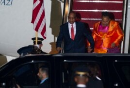 S. African President Jacob Zuma and his wife arrive at Andrews Air Force Base, Md., Aug. 3, 2014 to attend the US - Africa Leaders Summit.