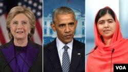 Dari kiri: Hillary Clinton, Barack Obama, Malala Yousafzai, tiga nama yang berada dalam daftar Gallup sebagai tokoh dunia yang paling dikagumi.