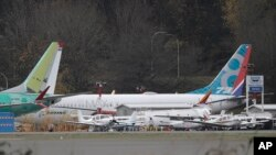A Boeing 737-MAX 8 is parked, Nov. 14, 2018, near Boeing Co.'s 737 assembly facility in Renton, Wash.