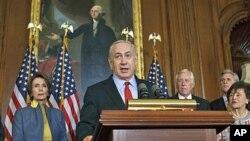 3月6号,以色列总理内塔尼亚胡在华盛顿国会山举行记者会。