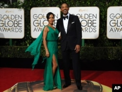 Jada Pinkett-Smith and Will Smith arrive at the 73rd Golden Globe Awards